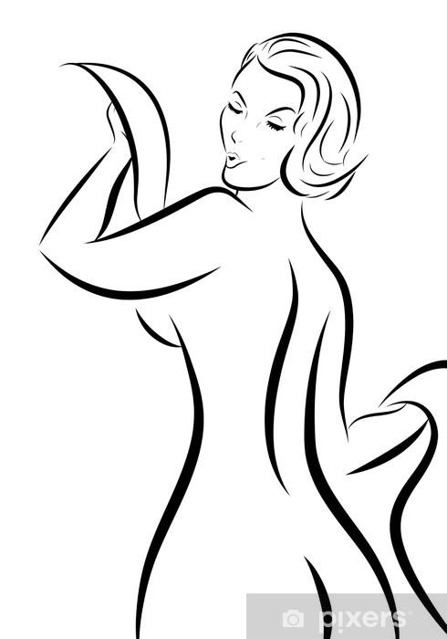 Naklejka Pixerstick Czarno-biały szkic kobieta pin-up z powrotem - Części ciała
