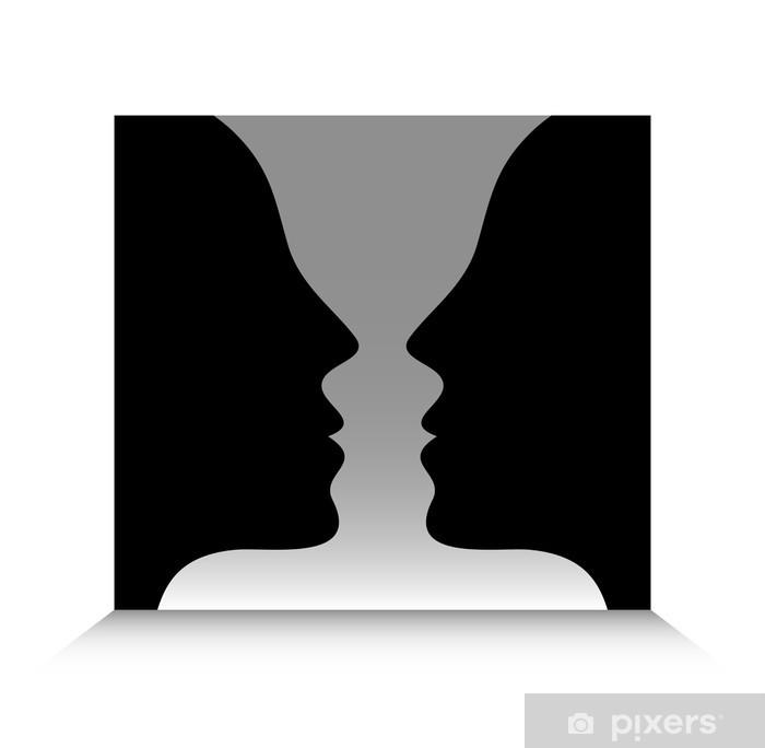 Poster Tête à tête Illusion optique - Santé et médecine