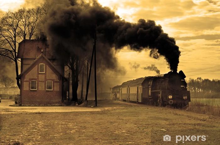 Papier peint vinyle Vieux train à vapeur rétro - Thèmes