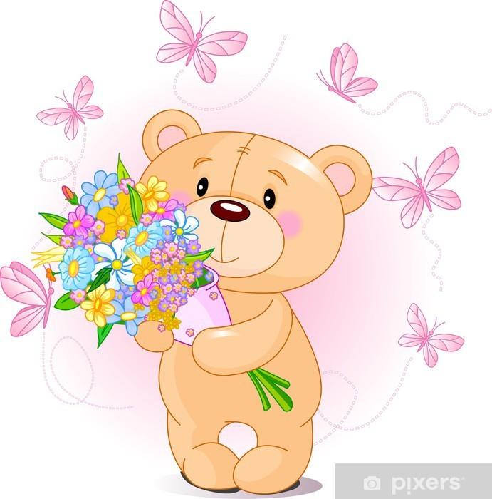 Aufkleber Pink Teddy Bear mit Blumen • Pixers® - Wir leben, um zu verändern