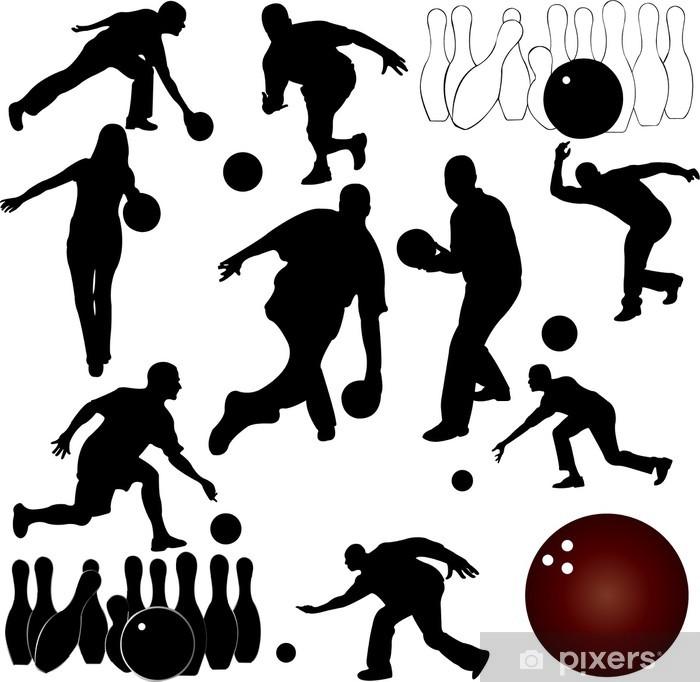 Papier peint vinyle Quilles people silhouettes - vector - Sports individuels