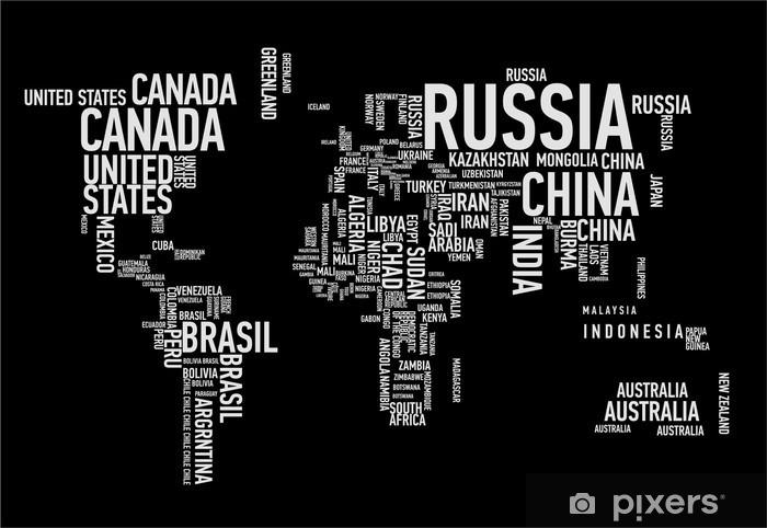 Pixerstick Sticker Wereldkaart: de landen van wordcloud - Tienerkamer (jongen)