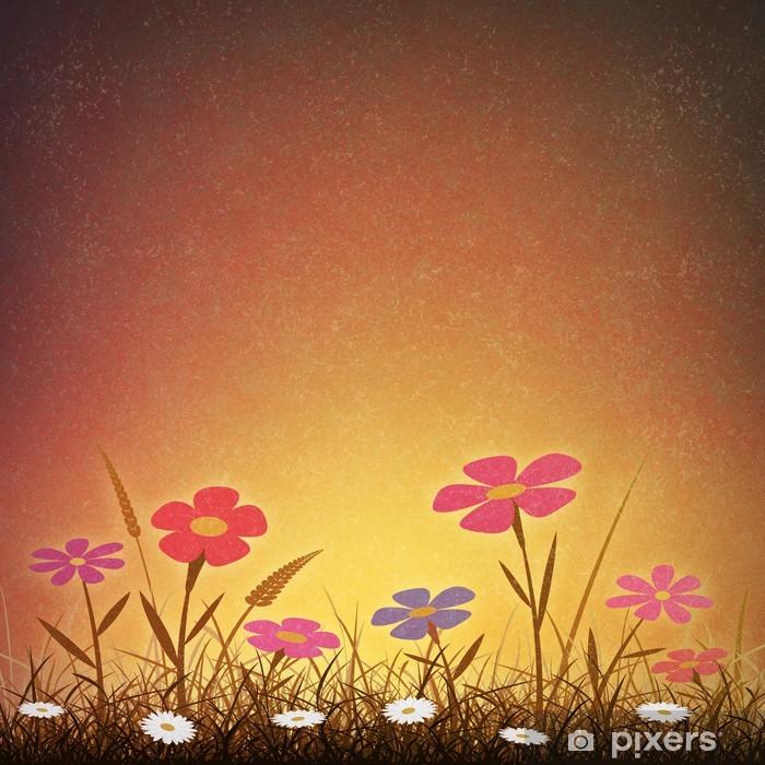 Papier peint vinyle Un simple fond artistique grunge de cru avec des fleurs - Fleurs
