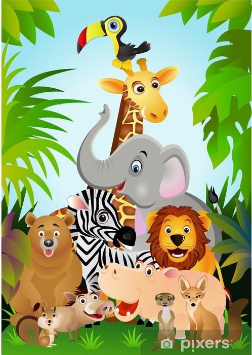 Fotomural Estándar Dibujos animados de animales salvajes - Para niña