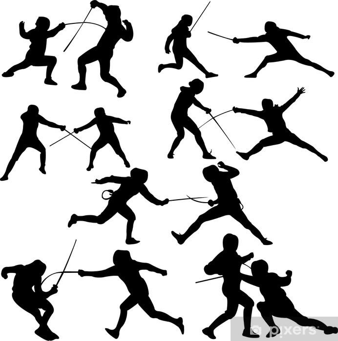 Papier peint vinyle Sport d'escrime - vecteur - silhouet - Sports individuels