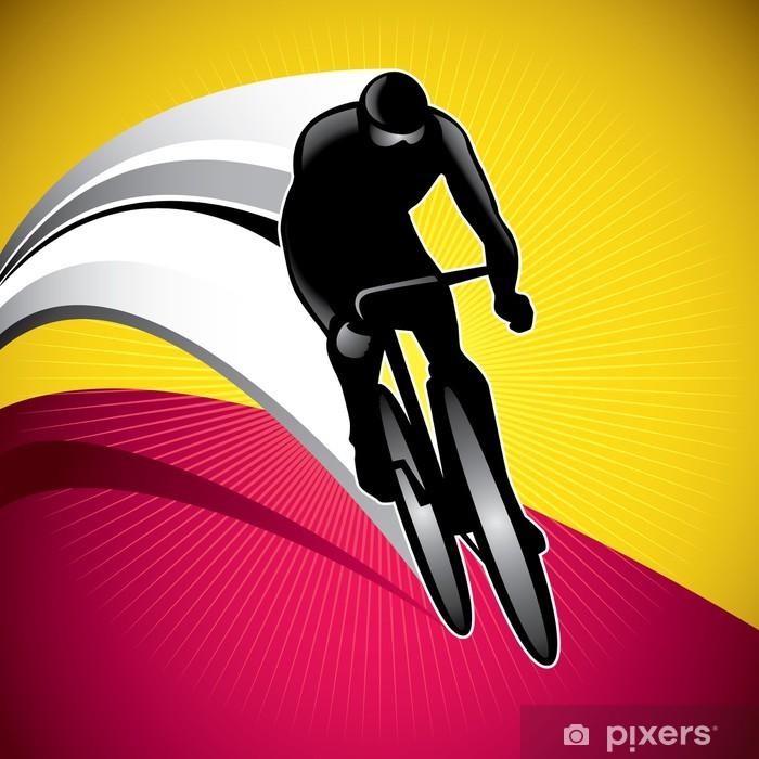 Fotomural Estándar Diseño de fondo con conductor de la bicicleta. - Por carretera