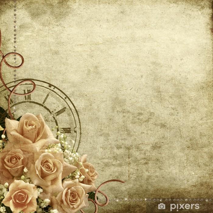 Fototapeta winylowa Retro romantyczne tło z róż i zegar - Tematy