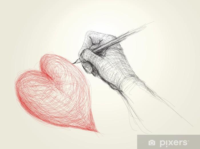 Fotomural Lavable Dibujo a mano un boceto del corazón / realista (no de trazabilidad automática) - Celebraciones internacionales