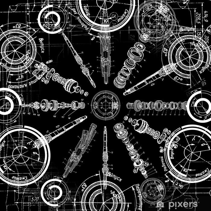 Pixerstick Sticker Technische tekening - Minimalistisch