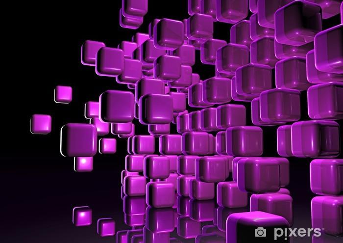 Naklejka Pixerstick Magenta Cube ściany - Znaki i symbole