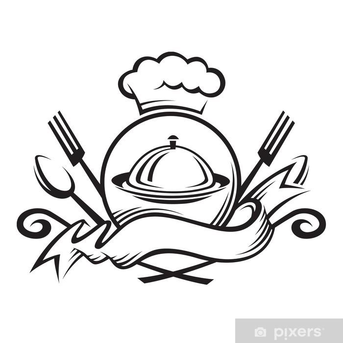 Papier peint vinyle Chapeau de chef avec une cuillère, une fourchette et assiette - Sticker mural
