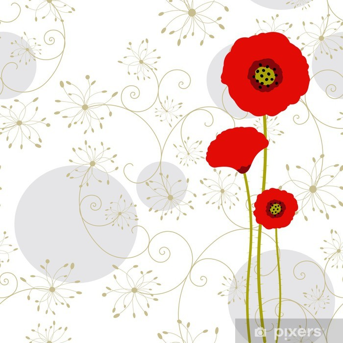 Abstract red poppy greeting card Poster - Backgrounds