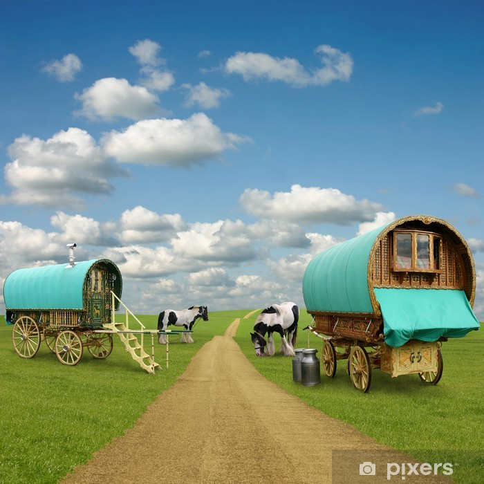 Old Gypsy Caravans, Trailers, Wagons with Horses Vinyl Wall Mural - On the Road