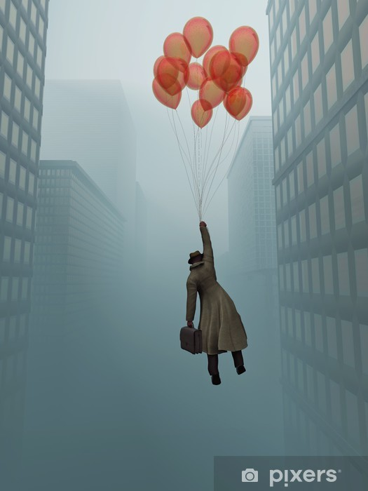 businessman soaring on balloon in city Vinyl Wall Mural - Themes