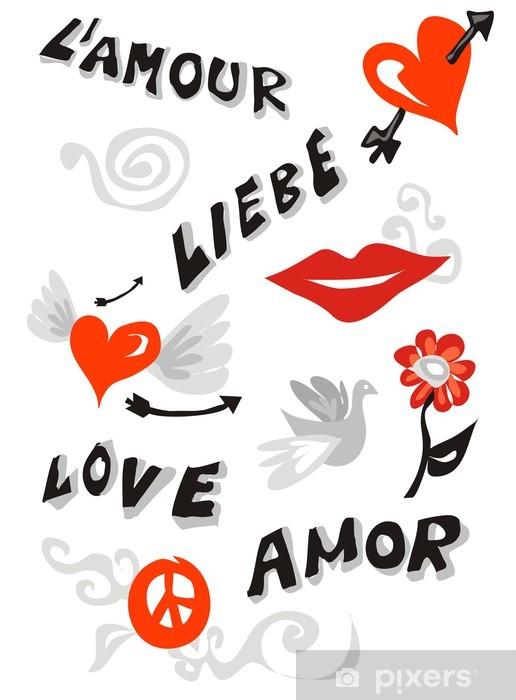 Fotomural Estándar Cartel de iconos de amor - Felicidad