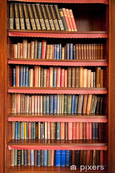 Old bookshelf with rows of books in ancient library Pixerstick Sticker - Library