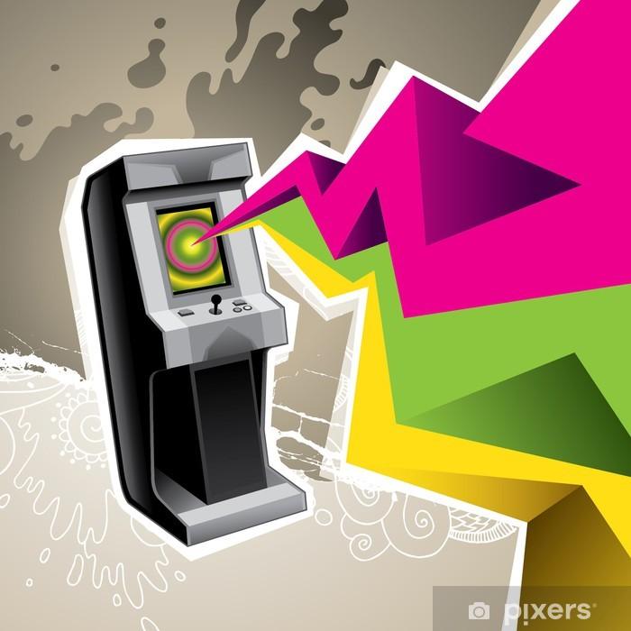Sticker Pixerstick Machine de jeu d'arcade coloré illustré avec l'abstraction. - Destin