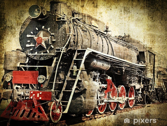 Sticker Pixerstick Grunge locomotive à vapeur -