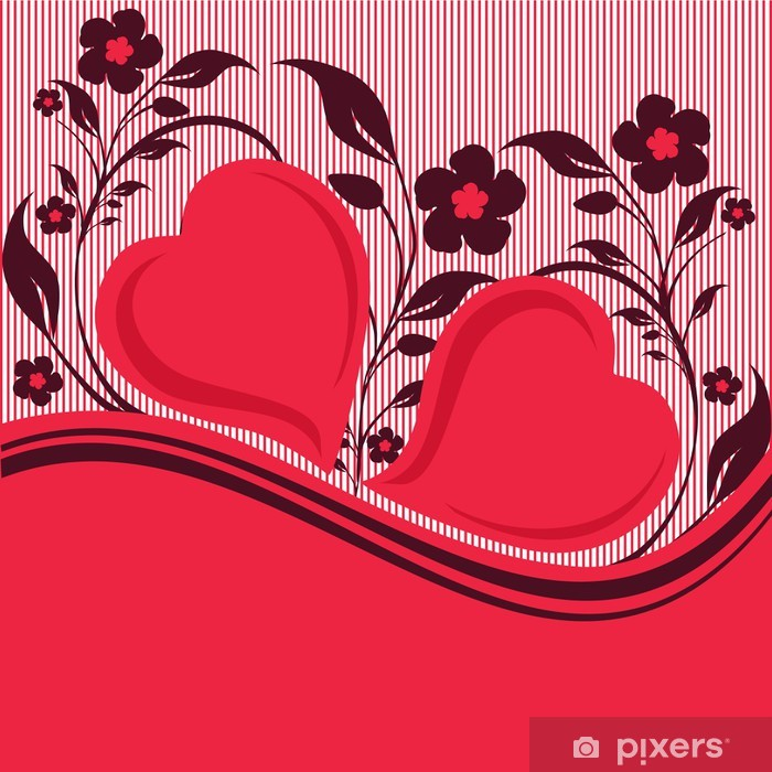Naklejka Pixerstick Ilustracji wektorowych z ornamentem roślinnym z dwóch serc - Święta międzynarodowe