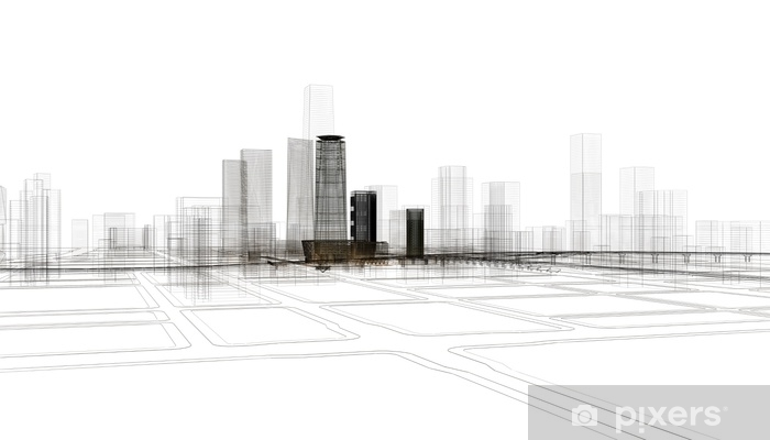Fototapeta samoprzylepna Città grattacieli illustrazione renderingu 3d - Nauka