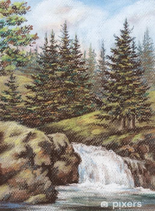 Vinyl-Fototapete Berg-Fluss mit Wasserfällen - Jahreszeiten