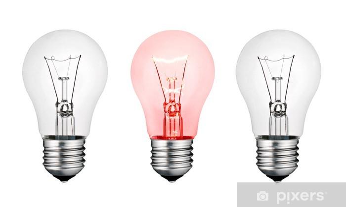 Pixerstick Aufkleber Red Hot Konzept Idee - Weiß und Rot Glühbirne Isolated - Geschäftskonzepte
