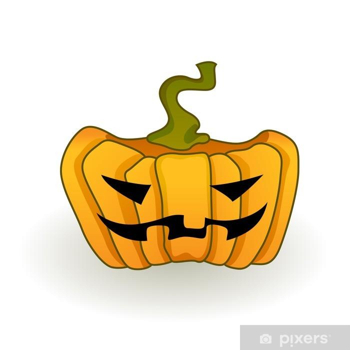 Sticker Pixerstick Big Orange Jack-O-Lantern citrouille sur un fond blanc. - Fêtes internationales