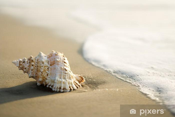Vinyl Fotobehang Schelp op het strand met de golven. - Vakantie