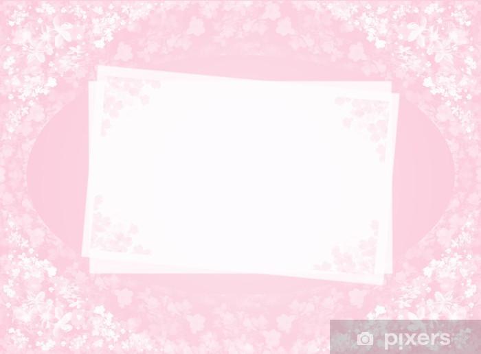 Papier peint vinyle Carte rose avec des fleurs - Célébrations