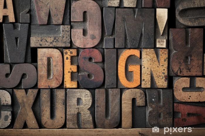 Papier peint vinyle «DESIGN» Le mot énoncé dans clichés typographiques très vieux. - Thèmes
