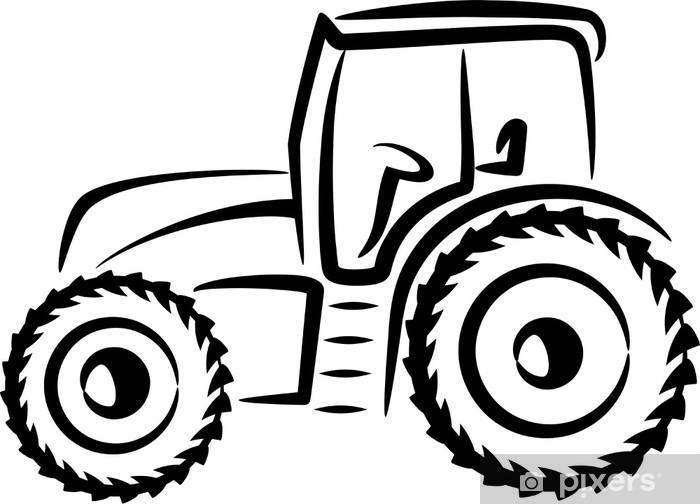 fototapete einfache illustration mit einem traktor