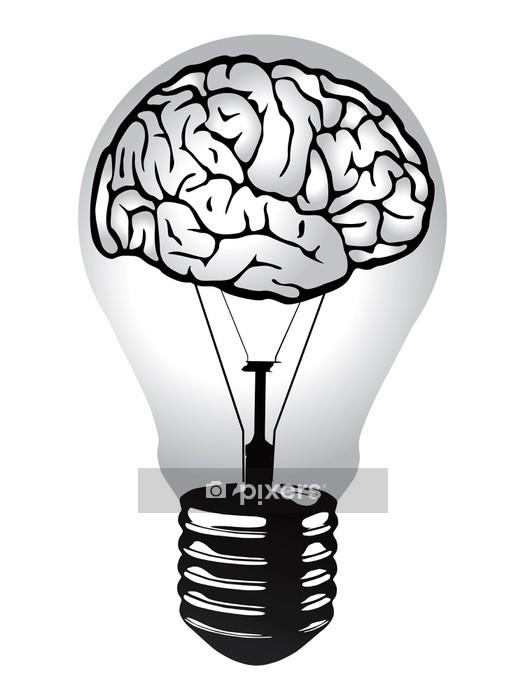 Vinilo para Pared Luz bombilla cerebro vector -
