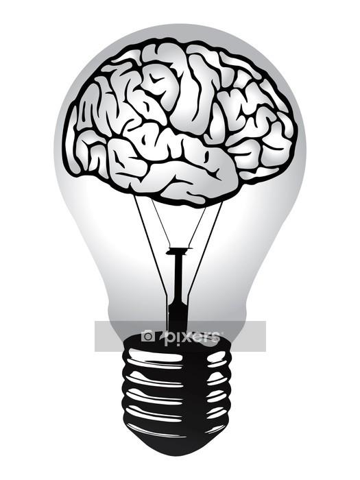 brain light bulb vector Wall Decal -