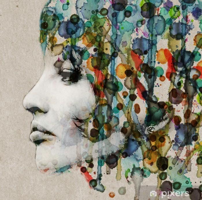 Papier peint vinyle Aquarelle profil femelle - Styles