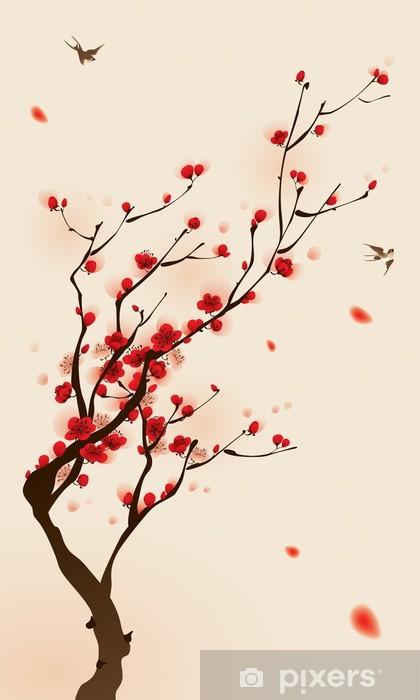 Fototapeta winylowa Malarstwo styl orientalny, kwiat śliwy na wiosnę -