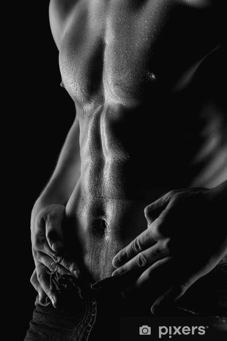 Fototapeta winylowa Sexy mięśni Nagi człowiek z kropli wody na żołądka - Mężczyźni