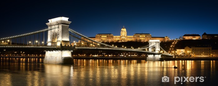 Pixerstick Sticker Chain Bridge, het Koninklijk Paleis en de Donau - Europa