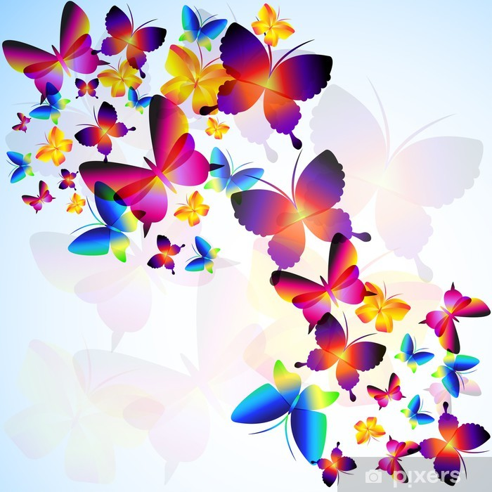 Colorful Background With Butterfly Sticker Pixers We Live To Change