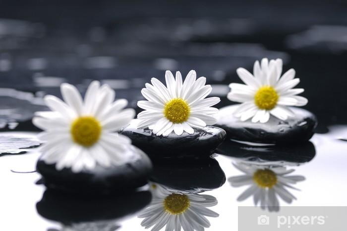 Sticker Pixerstick Pierres de thérapie avec des fleurs de chrysanthèmes - Merveilles naturelles