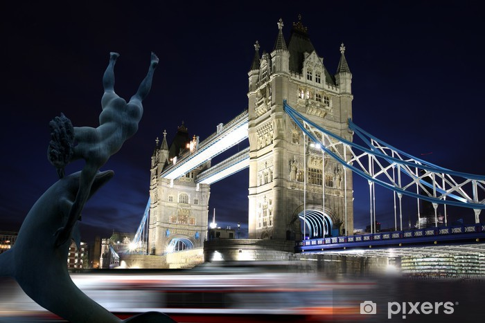 Naklejka Pixerstick Tower Bridge w nocy w Londynie, Wielka Brytania - Tematy