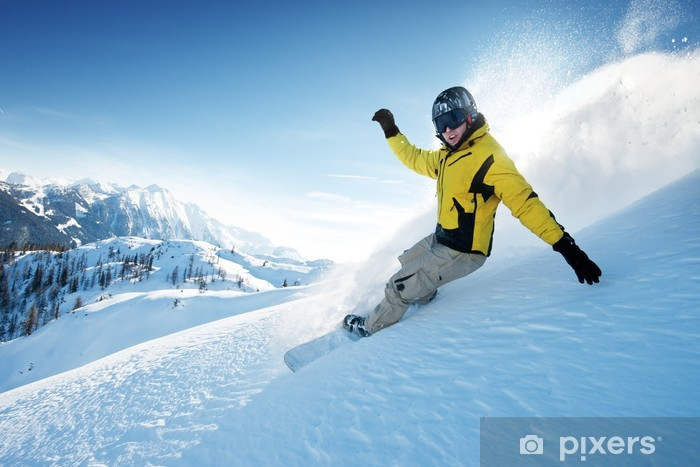 Freeride snowboarding photo in deep powder Pixerstick Sticker - Winter