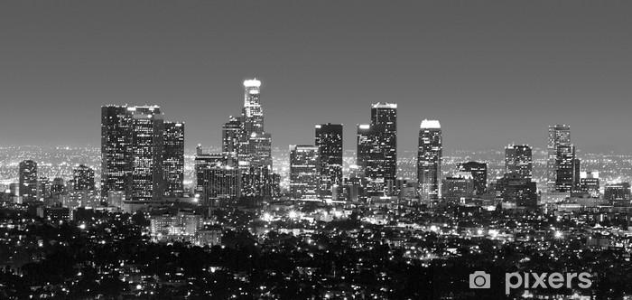 Papier peint vinyle Horizon de Los Angeles la nuit en noir et blanc - Thèmes