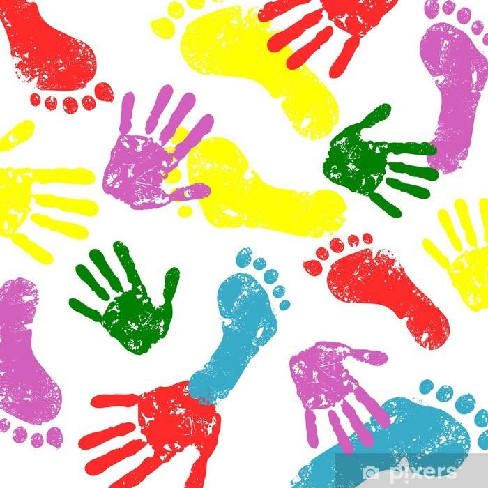 Fototapete Abstrakte Vektor Hand Und Fußabdrücke Hintergrund