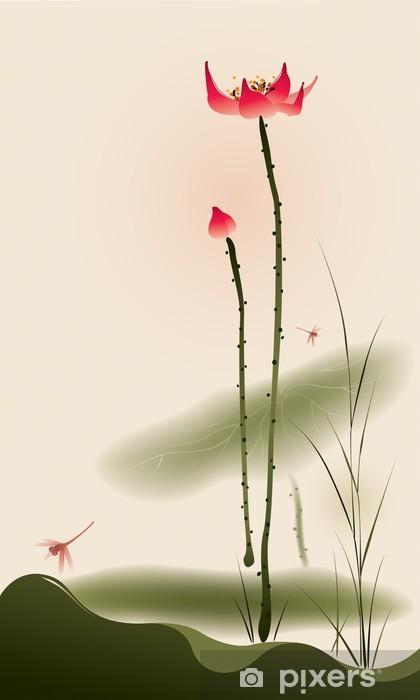 Oriental style painting, tall Lotus Vinyl Wall Mural - Styles