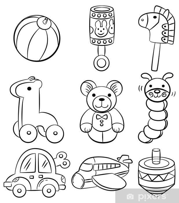 Fotobehang Hand tekenen cartoon baby speelgoed icon ...
