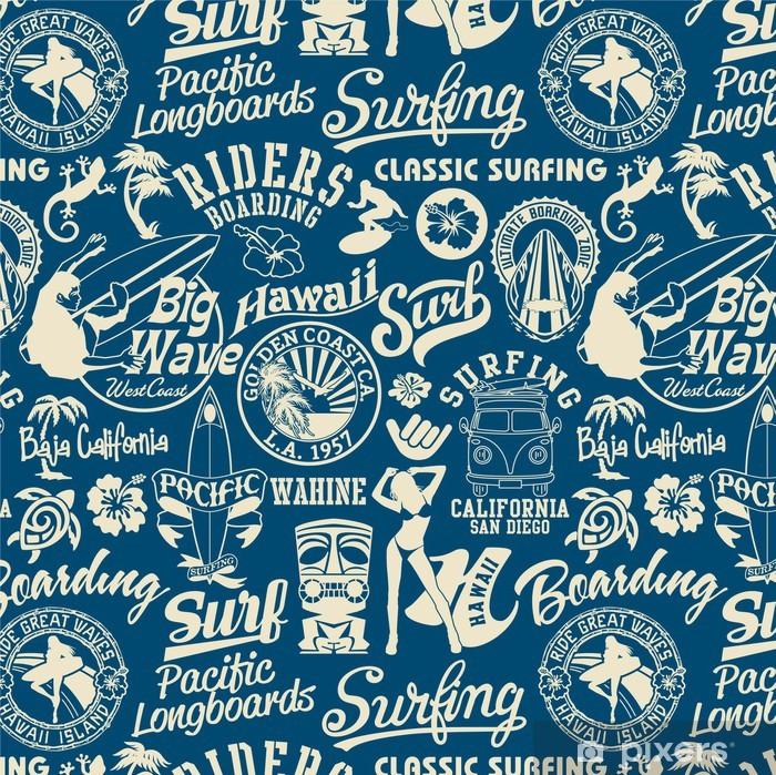 surf elements seamless pattern Framed Poster - Holidays