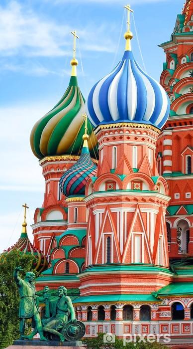 Papier peint vinyle Dômes de la célèbre chef de la cathédrale Saint-Basile sur la place Rouge, - Religion