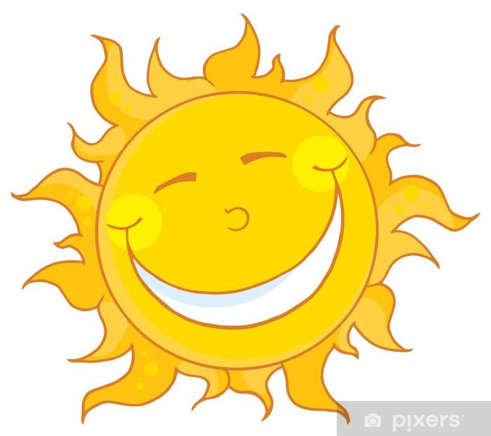 Adesivo Pixerstick Sorridente Sun mascotte personaggio dei cartoni animati - Disastri naturali
