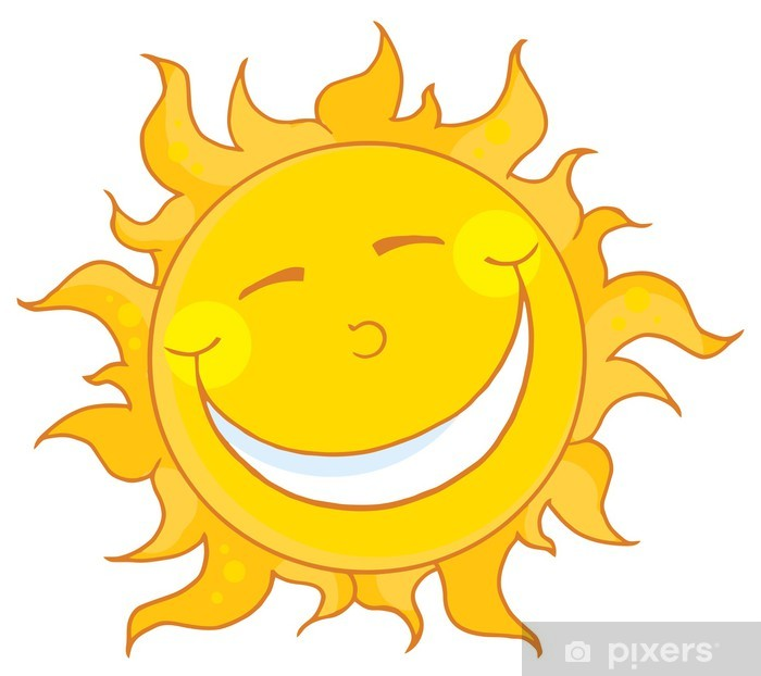Pixerstick Sticker Glimlachend Karakter Sun mascotte Cartoon - Natuurrampen