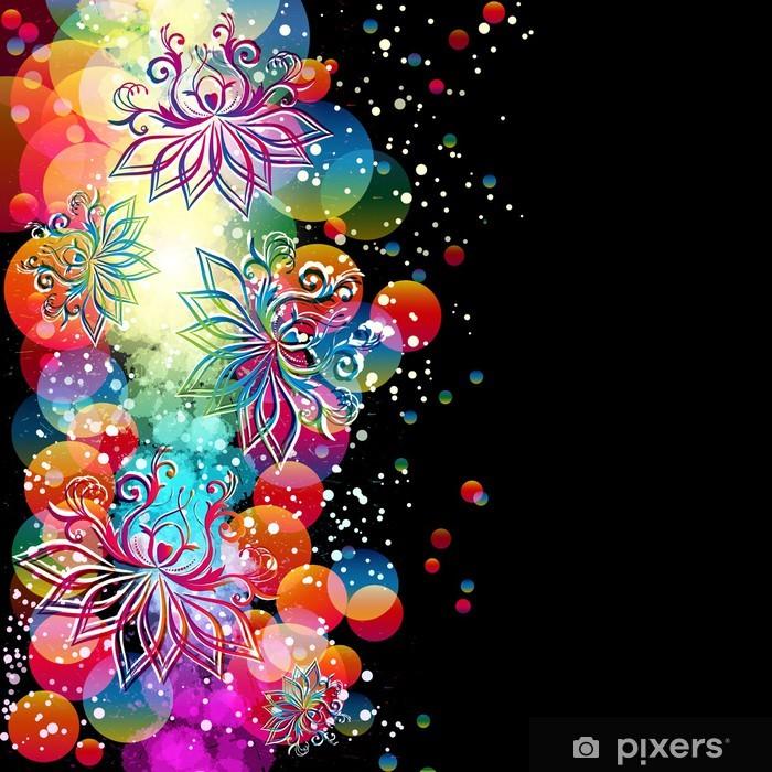 Naklejka Pixerstick Streszczenie kwiatów tle z orientalnych kwiatów. - Tła